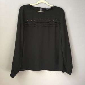 Black Forever21 blouse with gold studs