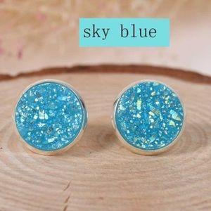Jewelry - BRAND NEW! Sky blue druzy style studs!! 💙