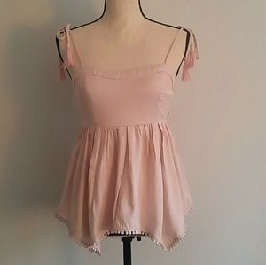 Honey Punch Tops - Baby doll blush pink tie strap top