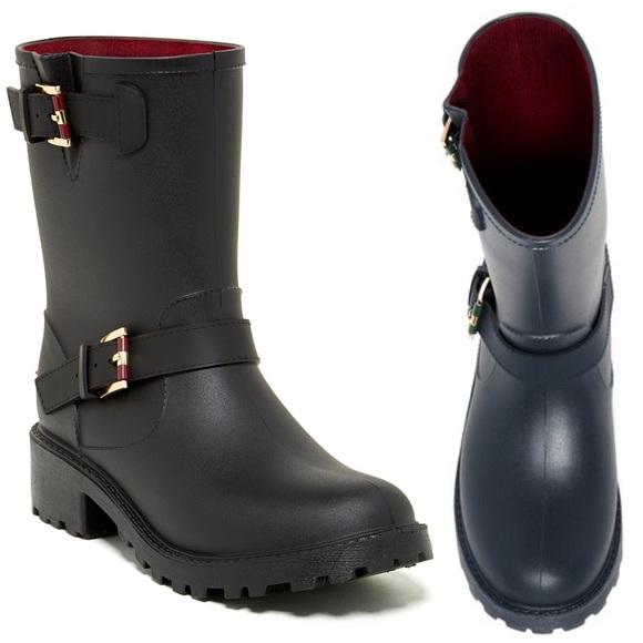 53b4e607543a51 Tommy Hilfiger Twdew Womens Black Rain Boots