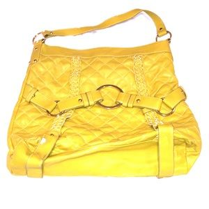 Mellie Bianco Mustard Yellow Quilted Purse