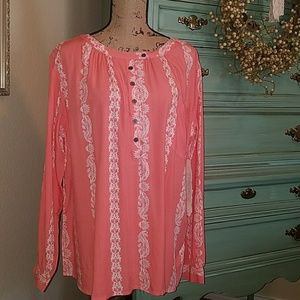Hydraulic Tops - 🆕💕HENLEY STYLE PEASANT BLOUSE