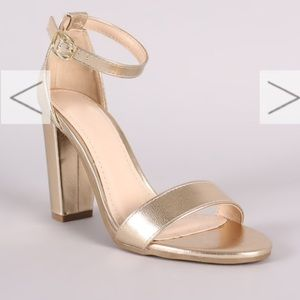 Shoes - Gold one band ankle strap open toe heels