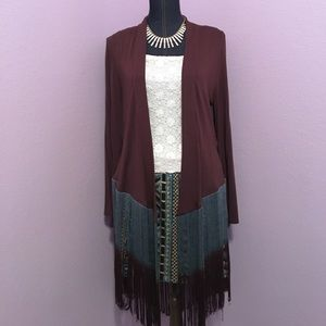 Reba Sweaters - Reba Brown Cardigan with Fringe