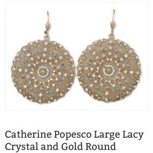 Catherine Popesco Jewelry - 14 k gold plated designer lacy earring