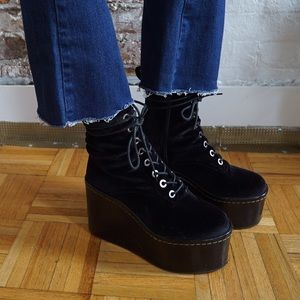 Jeffrey Campbell velvet platform boots