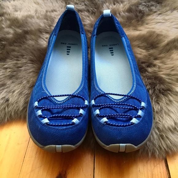 a55b71f4542 Lands  End Shoes - Blue suede Lands  End bungee ballet flats
