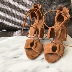 Zara Suede Tan Lace-up Sandals