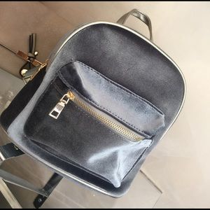 Handbags - Light Blue / Grey Suede Mini Backpack