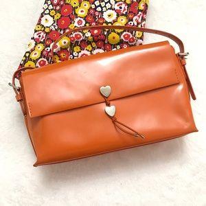 Moschino Handbags - MOSCHINO Orange Jelly Leather Silver Heart Bag