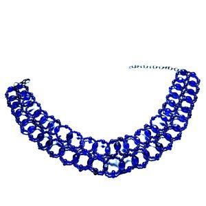 Jewelry - (NWOT) Fiery Cobalt Blue Crystal Beaded Choker!