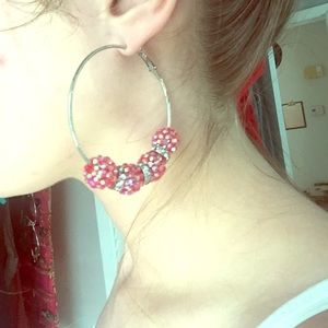 Jewelry - Silver hoops red sparkle beads