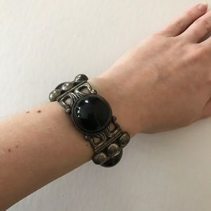 Jewelry - Vintage Mexican silver and onyx chunky bracelet