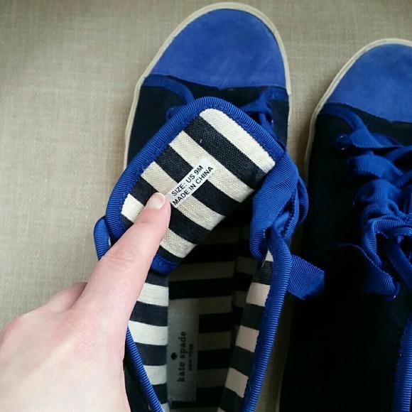 kate spade Shoes - Kate Spade Lorna Blue Stripe Suede Sneakers