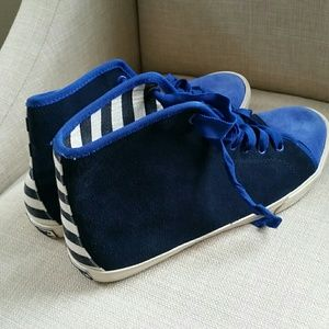 Kate Spade Lorna Blue Stripe Suede Sneakers