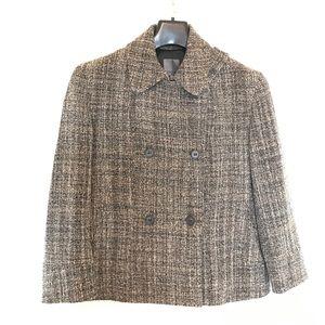 Premise Double Breasted Tweed Wool Short Blazer