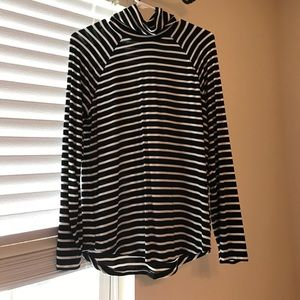 Black and white stripe turtleneck