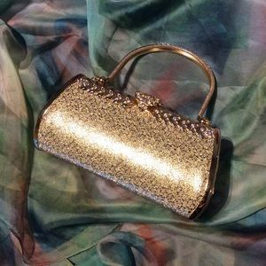  Gold clutch small handle purse