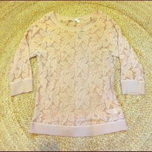 PRICE ⬇️ Anthro Blush Pink Lace Sweatshirt