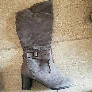 Journee Collection Shoes - Wide Calf Grey suede boots