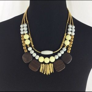 David Aubrey Gemstone & Wood Necklace