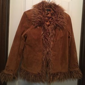 QUE Jackets & Blazers - Leather Coat with fur trim  Size M. NWOT