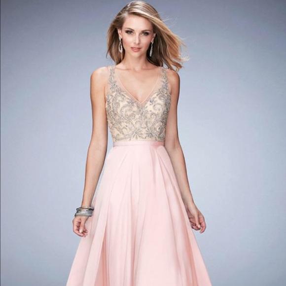 Madison James Dresses Blush Colored Sparkling Detailed Evening