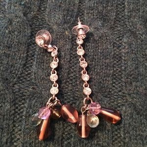 Stone and bead earring