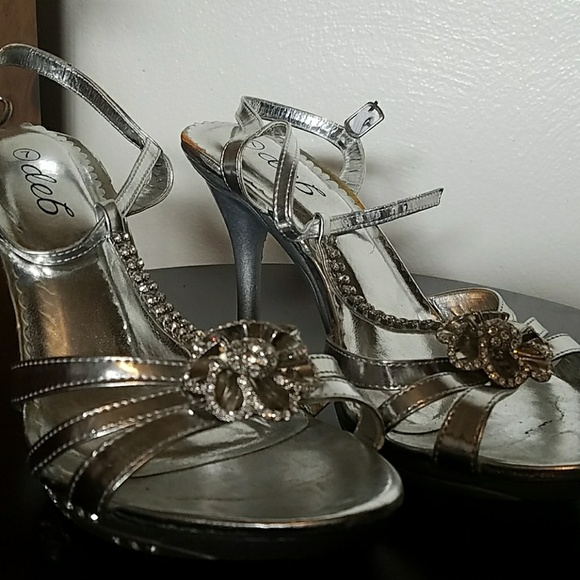 Deb Shoes - Deb Silver Gem Accent Heels