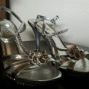 Deb Silver Gem Accent Heels