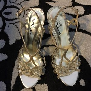 Nina Shoes - Gold Glitter Strappy Heels