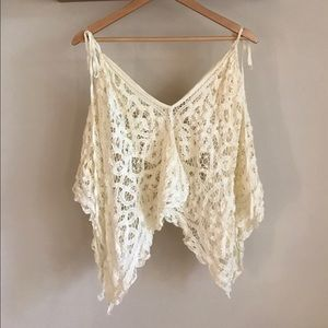 Free People Lace Crop Poncho Boho
