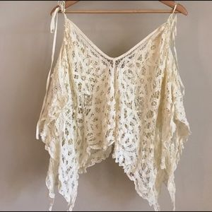 Free People Tops - Free People Lace Crop Poncho Boho