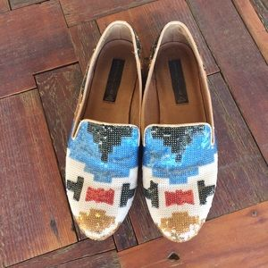 Steven by Steve Madden Shoes - Steve Madden Aztec Sequin Flats Loafers Tribal