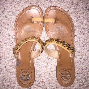 Tory burch Val size 8 sandals brown and gold