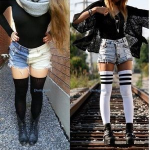 2 American Apparel Thigh High Socks Over The Knee