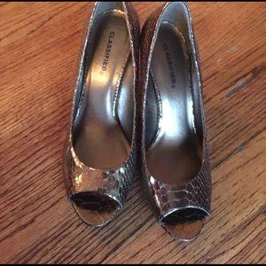 Copper open toe kitten heels never worn