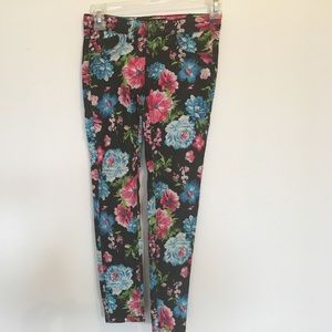 Imperial Star Other - Black with floral print skinny jeans