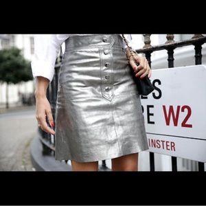🆕Zara Metallic Leather Skirt