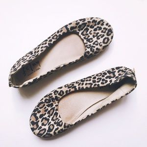 French Sole NY Leopard Print Suede Ballet Flats