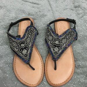 naughty monkey Shoes - Naughty Monkey beaded thong sandal leather