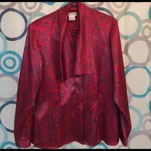 Evan Picone Tops - Evan Picone red long sleeve blouse nice size 14