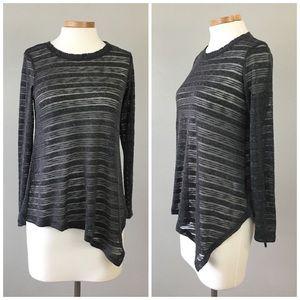 bobeau Sweaters - Bobeau Burnout Asymmetrical Pullover Sweater Top