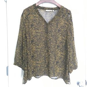 Sejour Tops - Black and Gold Print Blouse
