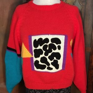 80s Geometric Cropped Sweater Color Block  Small