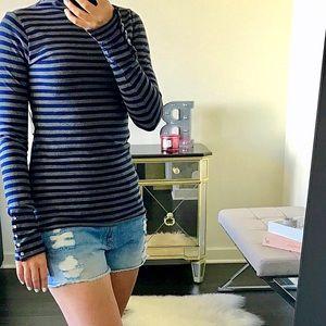Velvet Tops - Velvet Stripe Turtle Neck Long Sleeve Shirt Top