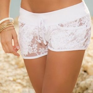 Other - LACE Coverup SHORTS White Black Floral Cover Up