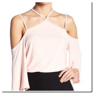 Lush Tops - Cold Shoulder Criss Cross Blouse