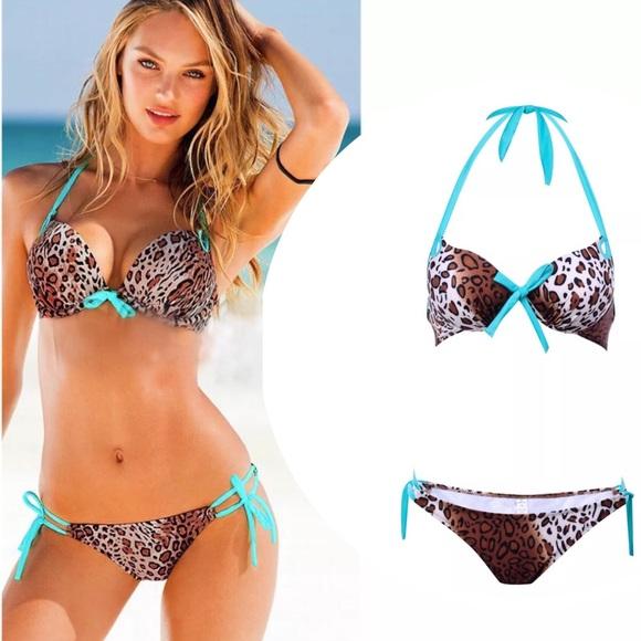 d9360a50f0bae ⛱SALE Sexy Leopard + Aqua Padded Push up Bikini