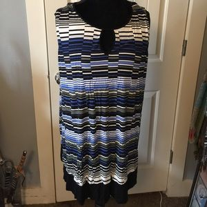 Yours Clothing Tops - Black/Blue Stripe Tunic Tank